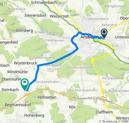 Ringstraße 45, Ansbach nach Horst-Brandstätter-Straße 1, Herrieden