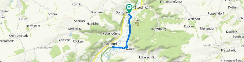 Markt 4, Dorndorf/Saale nach Porstendorf, Rabeninsel. Biergarten und zurück.