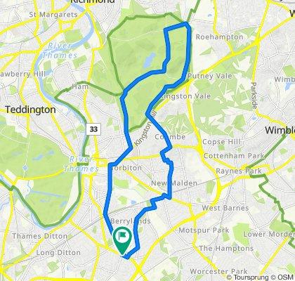 Surbiton, to Richmond Park, Loop 13m