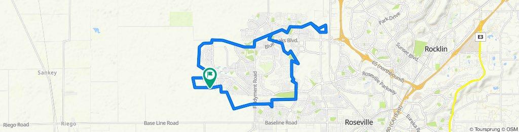 Splendor Lane - Westbrook - William Hughes Park - Foothills - Veterans Park - Blue Oaks Park - Woodcreek Oaks Blvd - Splendor Lane