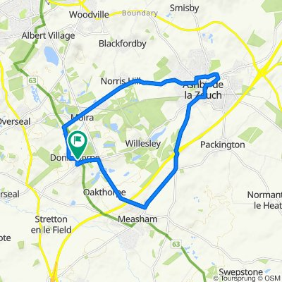 Donisthorpe to Moira, to Ashby, to Measham, to Donisthorpe