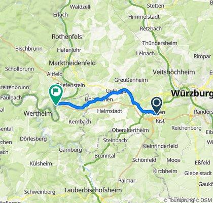 Guttenberger Straße 10C, Eisingen nach Wiesenweg 1, Wertheim