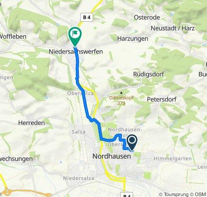 Hohenstaufenstraße 15, Nordhausen nach Rudolf-Breitscheid-Straße 2A, Harztor