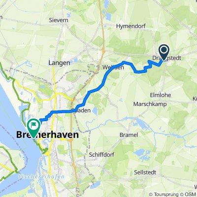 Hauptstraße 14, Drangstedt nach Am Neuen Hafen 11, Bremerhaven