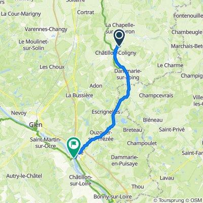 Rota desde Chassin, Châtillon-Coligny