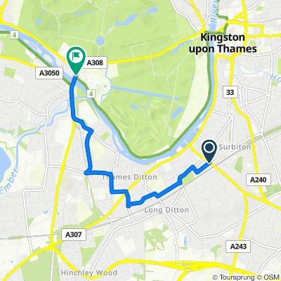 Surbiton, to Hampton Court, Side Roads, 3.1m