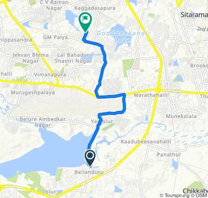 Bellandur Lake Road, Bengaluru to 5th Main Road, Bengaluru