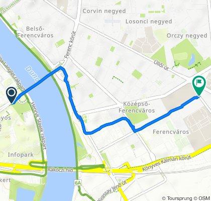 Route to Nagyvárad tér 2., Budapest IX. kerület