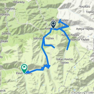Route from Ayder Yaylası Yolu, Çamlıhemşin
