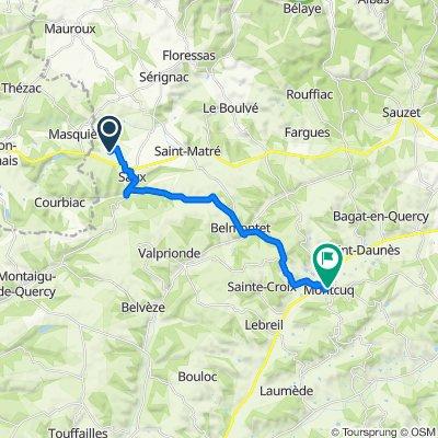 Les Clauzades Hautes, Saux to 10 Rue du Tour de la Vieille Ville, Montcuq