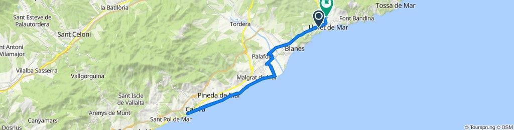 De Calle del Actor Pere Codina i Mont, 24, Lloret de Mar a Paseo de Cúllar, Lloret de Mar