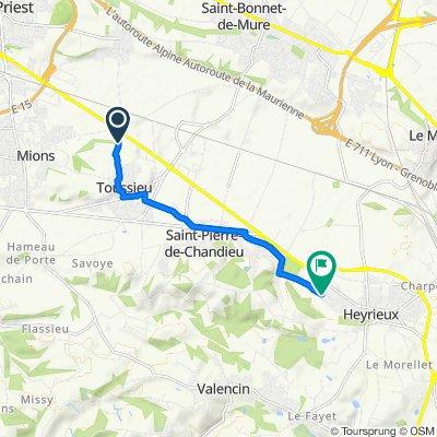 De Rue du 12 Juillet 90, Toussieu à Chemin de Rajat 3, Heyrieux