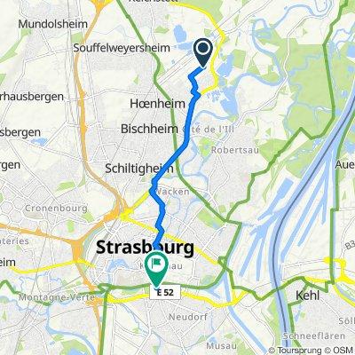 De 2 Impasse de l'Induction, Bischheim à Centre Commercial Rivetoile, 17 Route du Rhin, Strasbourg