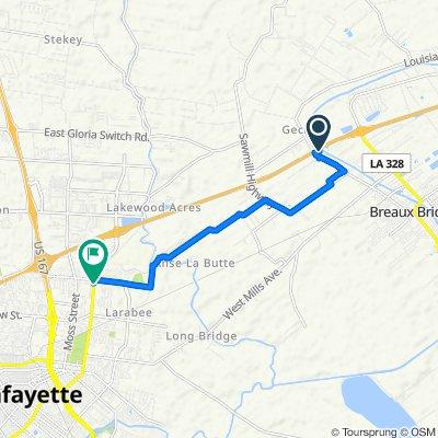 3621 Main Hwy, Breaux Bridge to 2725 Louisiana Ave, Lafayette