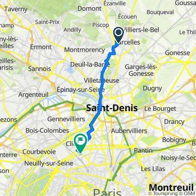De 9 Rue Germain Châtenay, Saint-Brice-sous-Forêt à 2 Rue Gilbert Cesbron, Paris