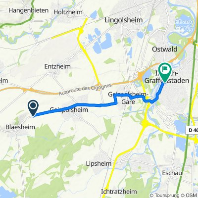 De Route Départementale 84, Blaesheim à 1 Rue de la Poste, Illkirch-Graffenstaden