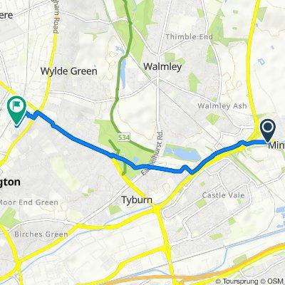 Davita, Old Kingsbury Road, Sutton Coldfield to 10 Rowden Drive, Birmingham