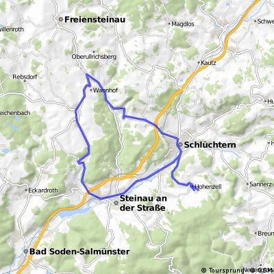 Hohenzell - Schlüchtern - Ulmbach - Steinau - Hohenzell