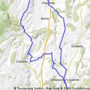 52 km: La Sarraz - Arnex - Orbe - Chavornay - St-Bar - Etagnières