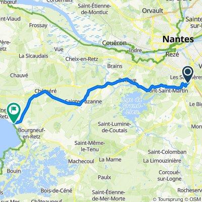 De Rue du Moulin des Landes 18, Les Sorinières à Rue de Prigny 1, Les Moutiers-en-Retz