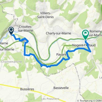 Route from Avenue du Gén Leclerc 100, Saâcy-sur-Marne