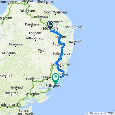 Norwich to Felixstowe Ferry