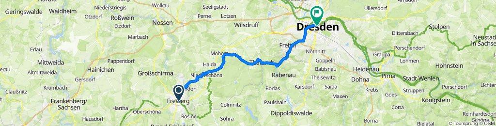 Wasserturmstraße 1, Freiberg nach Wilsdruffer Straße 20, Dresden