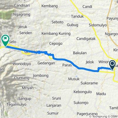 Jalan Griya Winong Pratama a12a, Kecamatan Boyolali to Jalan Ki Hajar Saloka 85, Selo