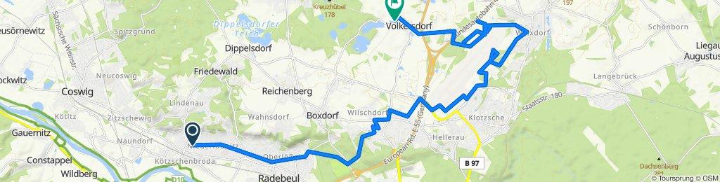 Heinrich-Heine-Straße 2, Radebeul nach K8019 7, Radeburg