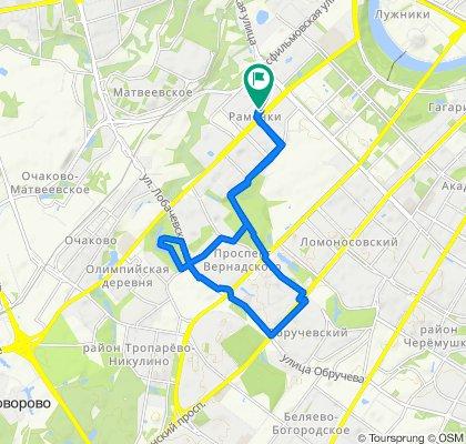 От Мичуринский проспект, 16, Москва до улица Столетова, 1, Москва