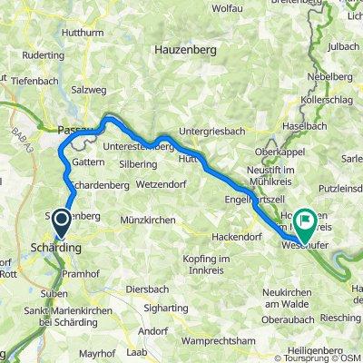 Donauradweg von Schärding nach St. Pölten: 1. Etappe: Schärding - Passau - Wesenufer
