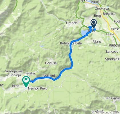 Seliška cesta, Bled to Triglavska cesta, Bohinjska Bistrica