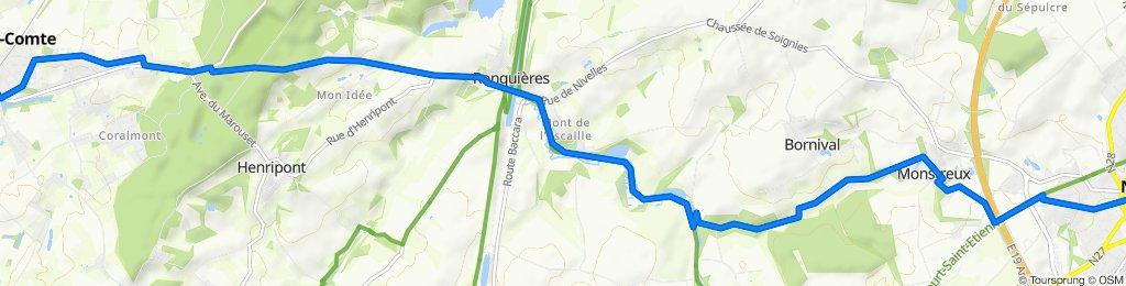 De Rue de la Brainette 20, Braine-le-Comte à Grand'Place 21–39, Nivelles