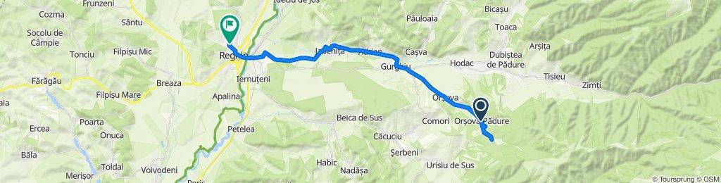 Traseul către Strada Pășunii 1–13, Reghin