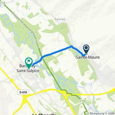 De 7 Chemin de la Carrière, Sainte-Maure à 4 Rue Robert Baudoin, Barberey-Saint-Sulpice