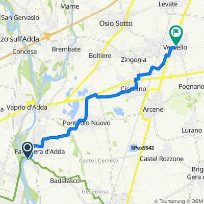 Da Via Adda 22, Fara Gera d'Adda a Via Papa Giovanni XXIII 44a, Verdello