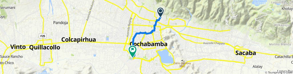 De Avenida Las Begonias, Cochabamba a Cap.W.Baya 136, Cochabamba