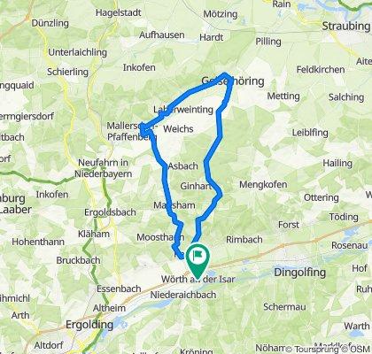 Wörth-Süßkofen-Neuhofen-Hadersbach-Geiselhöring-Mallersdf.-Greilsberg-Bayerbach-Postau-Wörth