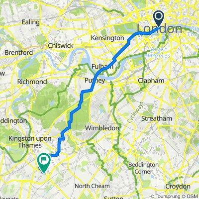 Surbiton, to London, Direct Straight, 13.6m