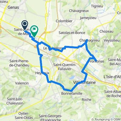 De 2 Chemin du Chanay, Saint-Bonnet-de-Mure à Rue de l'Église, Saint-Laurent-de-Mure