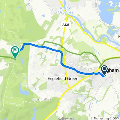 Route from 28 Queen's Road, Egham
