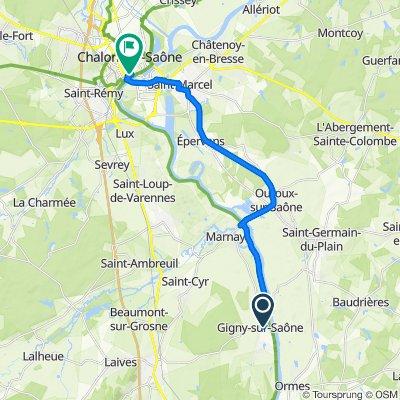 1–7 Rue de la Chapelle, Gigny-sur-Saône nach 3 Place de l'Hôtel de Ville, Chalon sur Saône