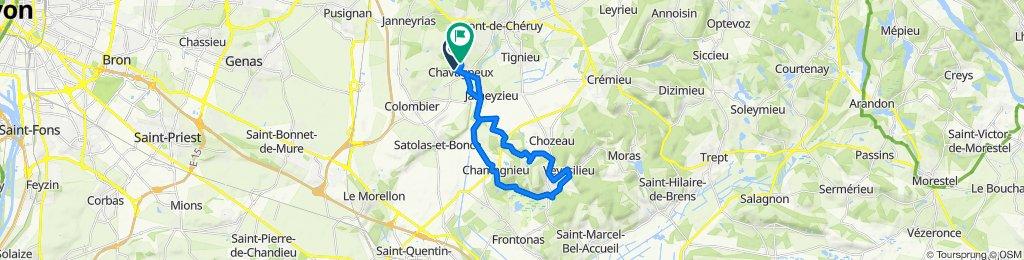 De Rue Antoine de Saint-Exupéry 1, Charvieu-Chavagneux à Impasse Charles Baudelaire 2, Charvieu-Chavagneux