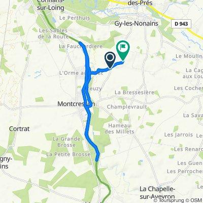 De 34 Chemin de Toisy, Gy-les-Nonains à 549 Chemin de Randonnée Les Terreforts, Gy-les-Nonains