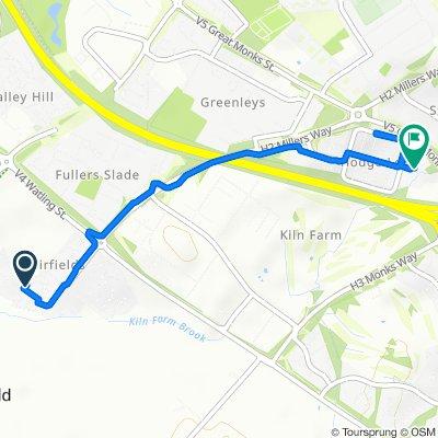 32 Cicero Crescent, Milton Keynes to 26 Brookside, Milton Keynes