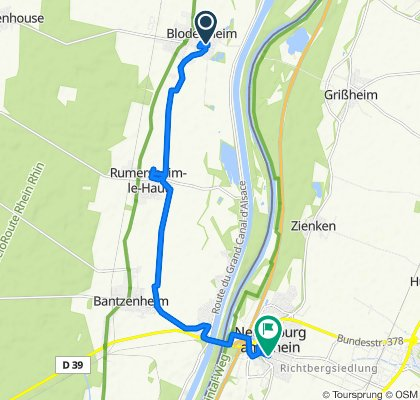 2bis Rue des Prunelliers, Blodelsheim nach Kreuzmattweg 1A, Neuenburg am Rhein