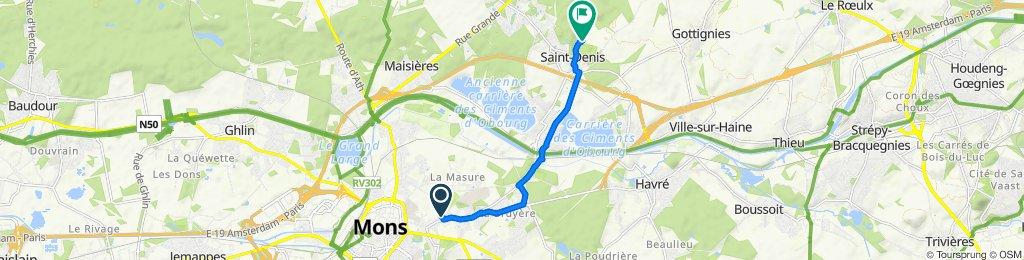 Clos Fernand Debouck, Mons to Rue de la Filature 10, Mons