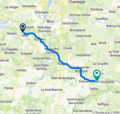 Itinéraire vers Lépinay, Ercé-en-Lamée
