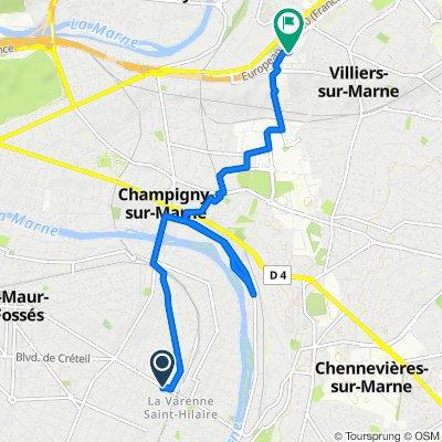 De 61bis Avenue du Bac, Saint-Maur-des-Fossés à Boulevard Jean Monnet, Bry-sur-Marne