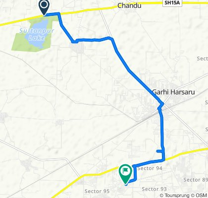 Route from SH 15A, Gurugram
